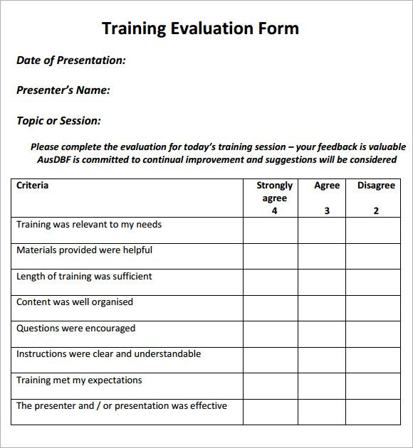 Image Result For Evaluation Forms For Training
