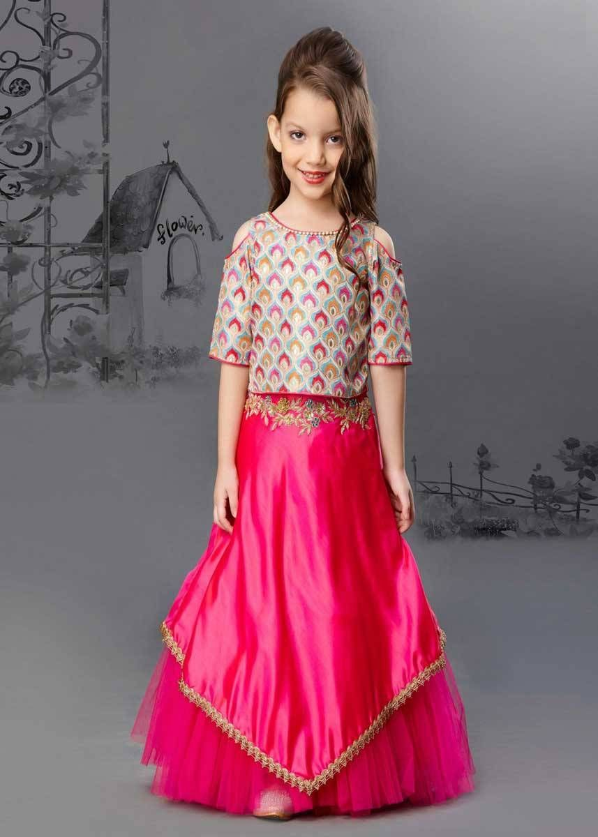 3249092991243e Deep Pink Color Mulberry Silk And Net Kid Lehenga in 2019   Kids ...