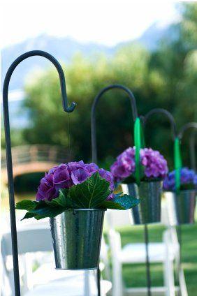 Pail Hydrangea Shepherds Hook Modern Wedding Flowers Arrangements Affordable Wedding Flowers Modern Wedding Flowers