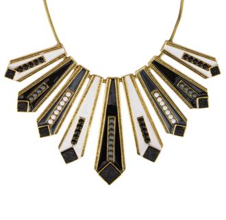 Maxi colar geométrico preto e branco R$20