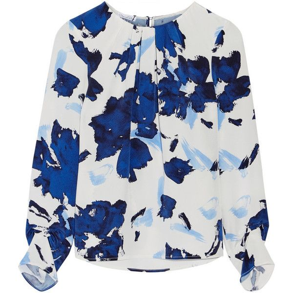 Oscar de la Renta Printed silk crepe de chine blouse (€1.470) ❤ liked on Polyvore featuring tops, blouses, blue, pleated top, pleated blouse, silk blouses, blue silk blouse and keyhole blouse