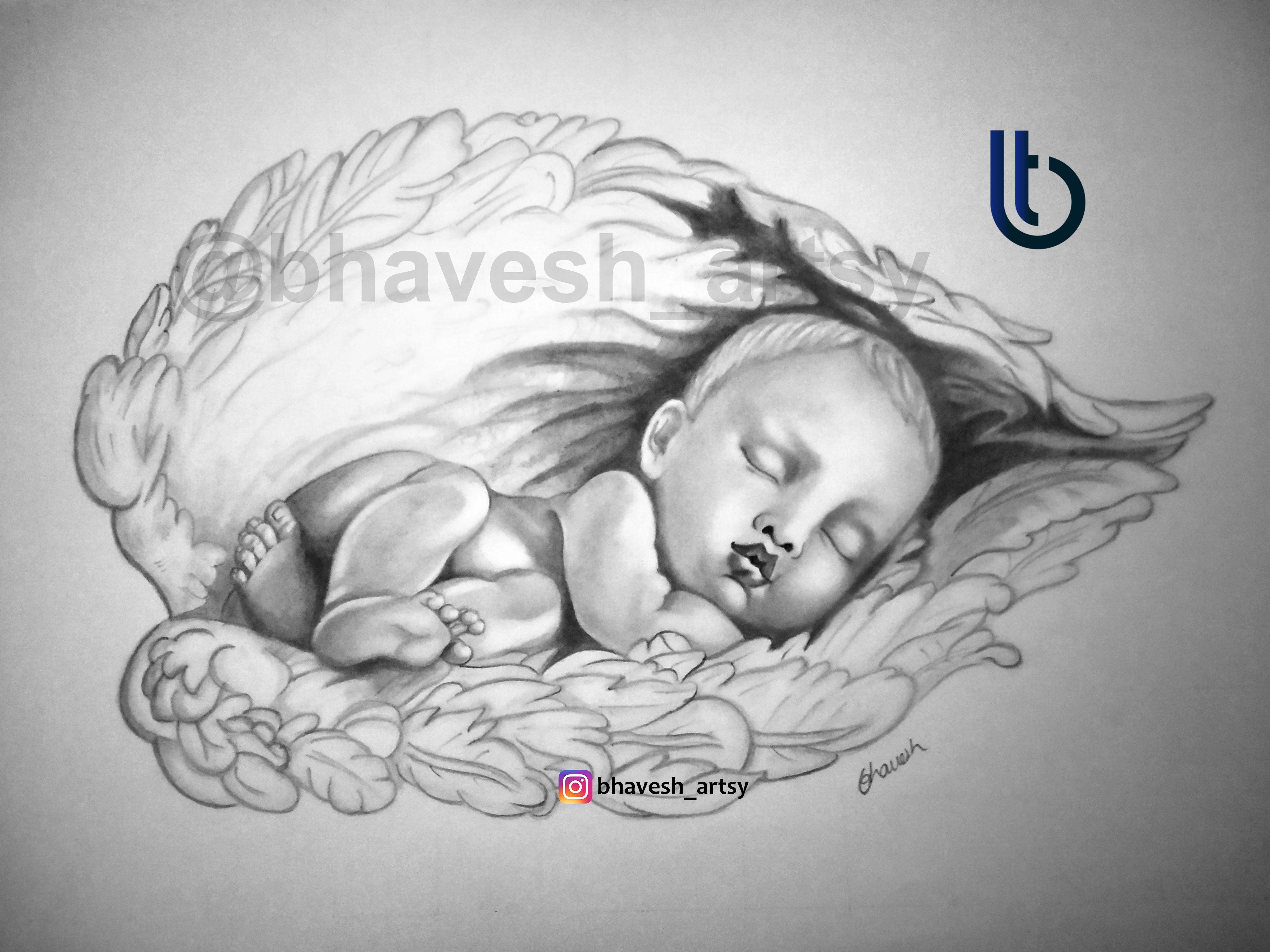 "Recreation of ""real angel"" drawing| sleeping baby #drawing ..."