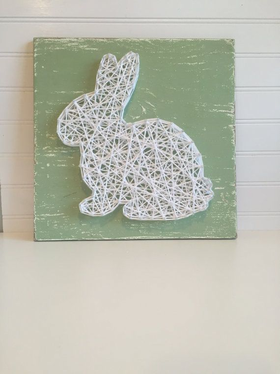 12 x12 sage green board with white string rabbit paques. Black Bedroom Furniture Sets. Home Design Ideas
