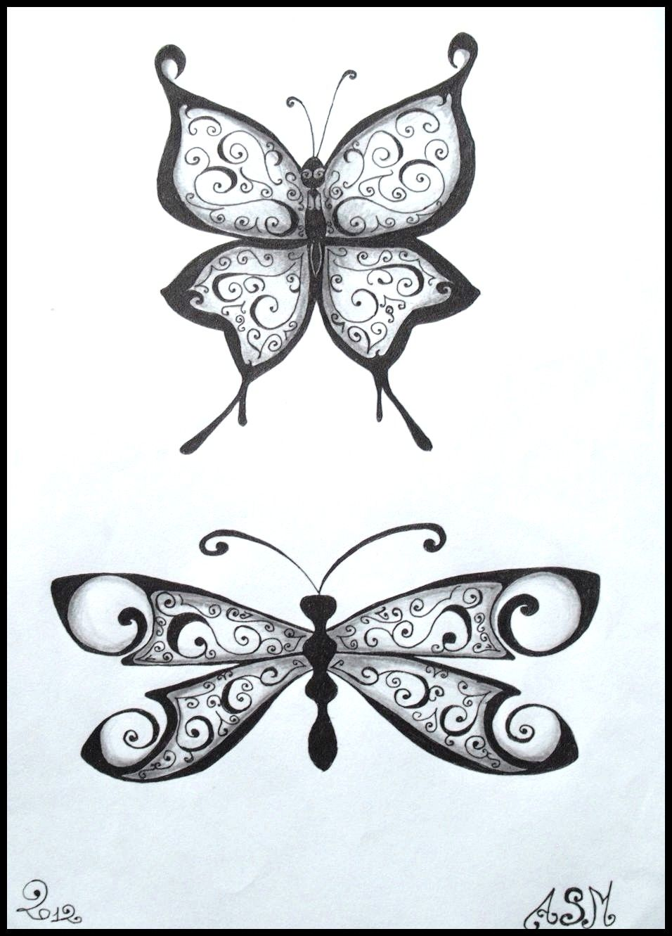 Butterfly tattoo dessin crayon drawing papillon - Dessin papillons ...