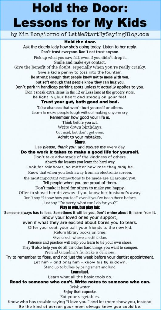 Lessons for My Kids by @LetMeStart Kim Bongiorno   Let Me Start By Saying…