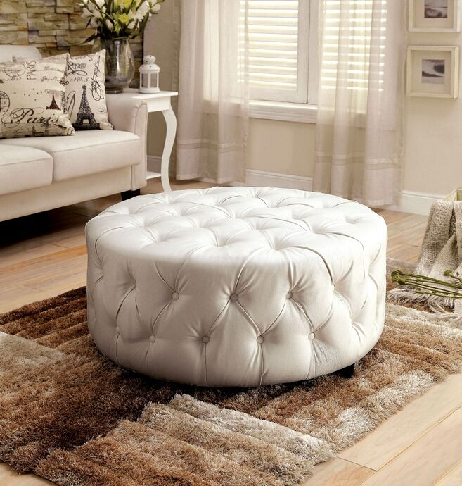 Tremendous Cm Ac6289Wh Latoya White Bonded Leather Tufted Round Ottoman Gmtry Best Dining Table And Chair Ideas Images Gmtryco