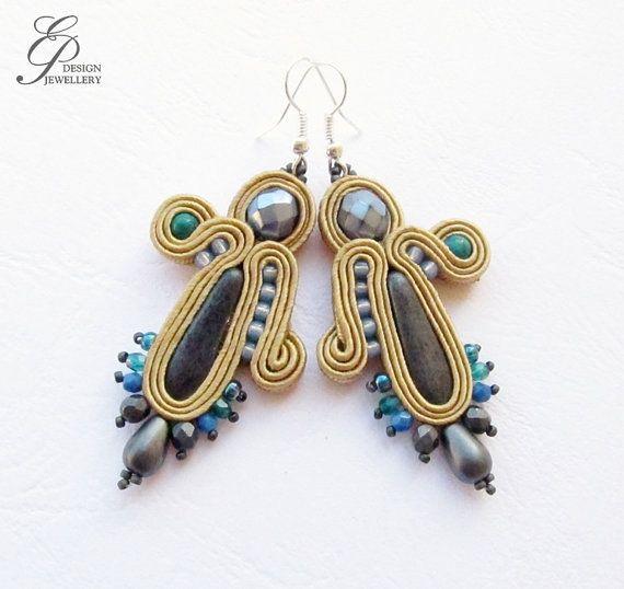 Soutache earrings grey earrings soutache jewelry by EditBeadIt, $24.00