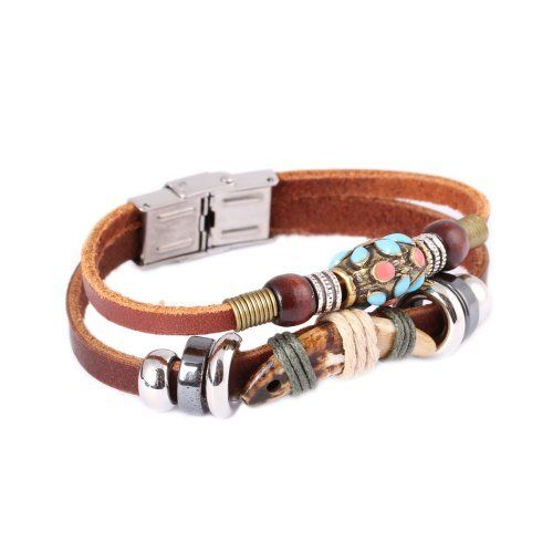 FASHION PLAZA Tibetan Hand Crafted Coral Bead & Simulated Animal Tooth Leather Bracelet -19cm- L33 FASHION PLAZA. $4.99. The leather bracelet measures 11mm in width and 19cm in length.. Normally, the transportation time is 7-14 days.. Perfect as a Gift or Treat for Yourself!