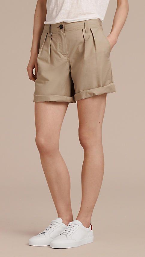 Honiggelb Utility-Shorts aus einer Baumwollmischung mit Faltendetail Honiggelb - Bild 1