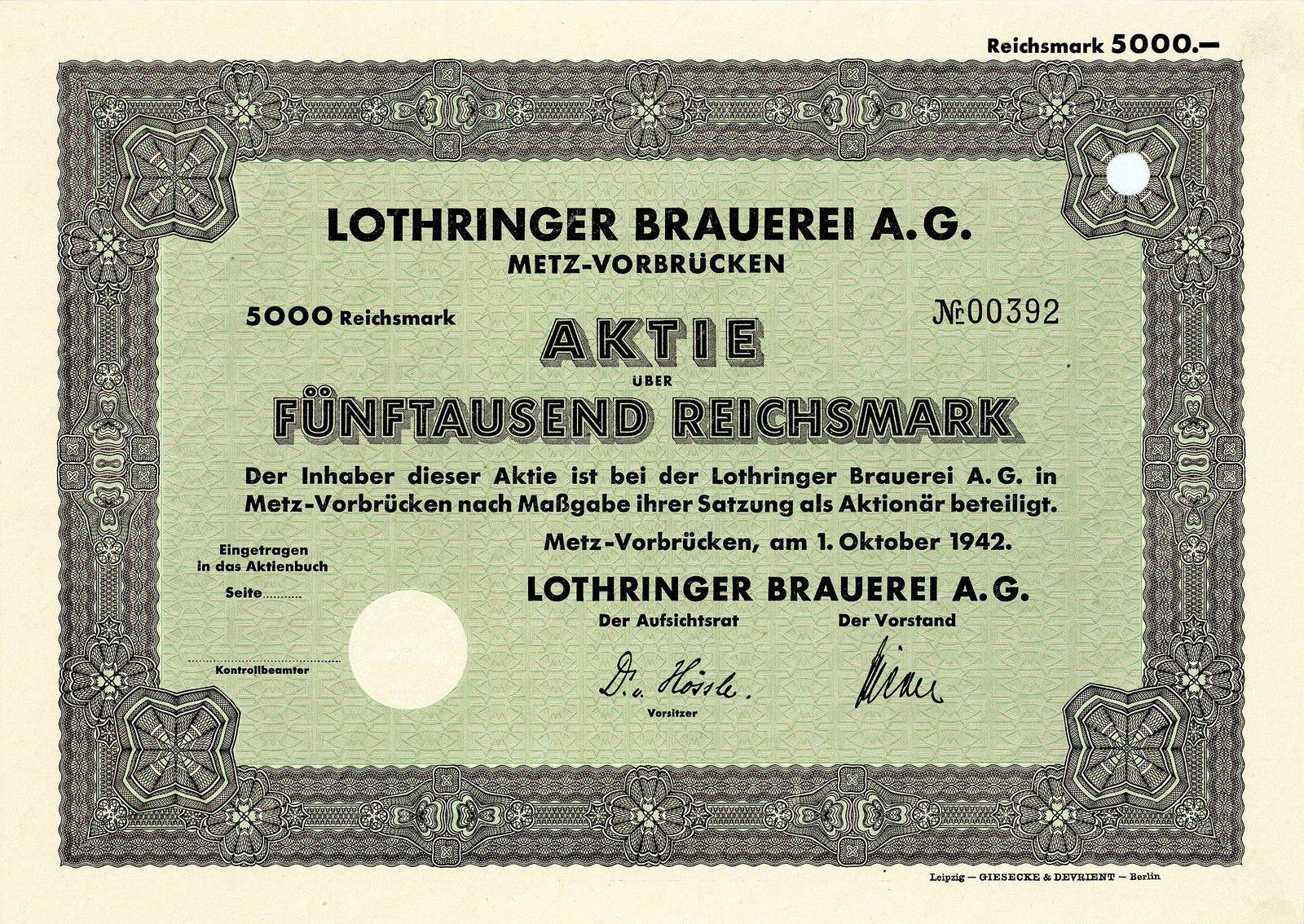 Lothringer Brauerei, Metz-Vorbrücken, Aktie über 5.000 RM von 1942 + SEHR SELTEN