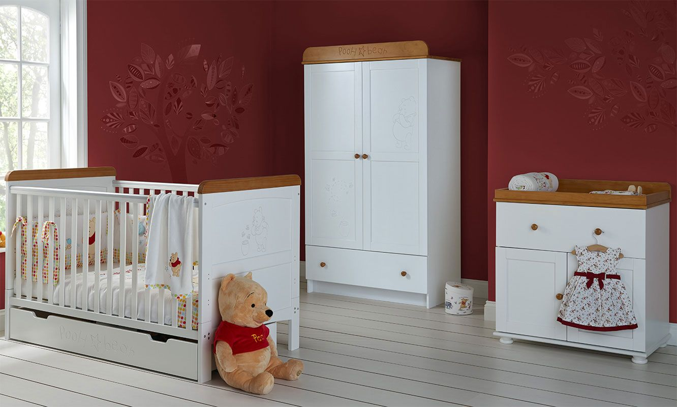Winnie the Pooh 3pc Double Set - White with Pine Trim #obabyuk ...