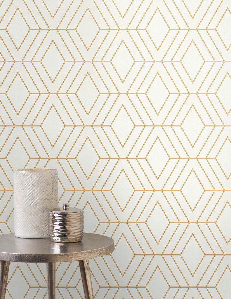 Fine Decor Pulse Wallpaper Diamond Cream Gold Fd4