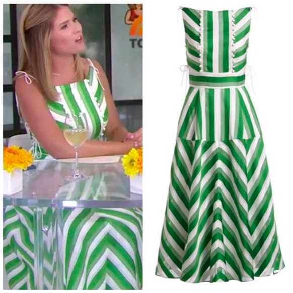 60df64c3a9b8 Jenna Bush Hager's Green and White Striped Dress https://www.bigblondehair.