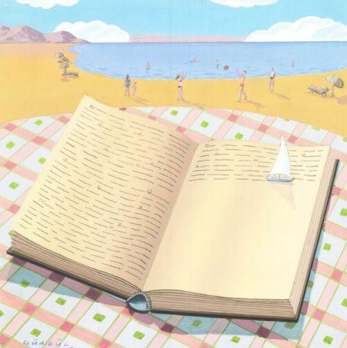 Summer reading / Lectura veraniega (ilustración de Gurbuz Dogan Eksioglu)