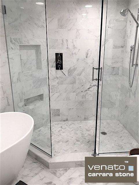 SF Carrara Honed Marble X Subway Tile Master Bathroom - 6x12 subway tile shower