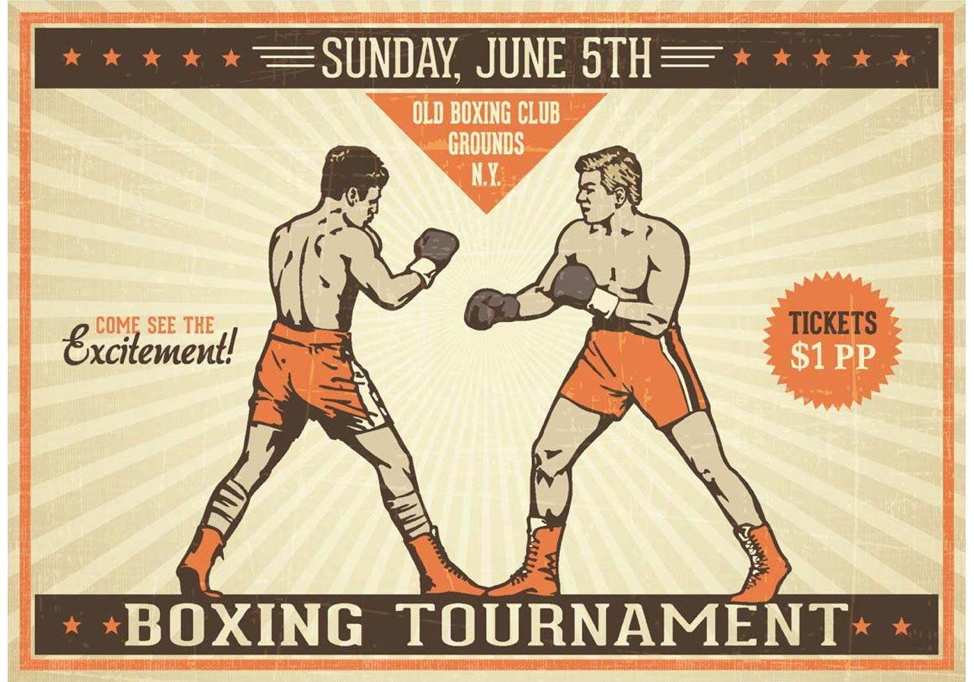 Boxing Vintage Vector Poster