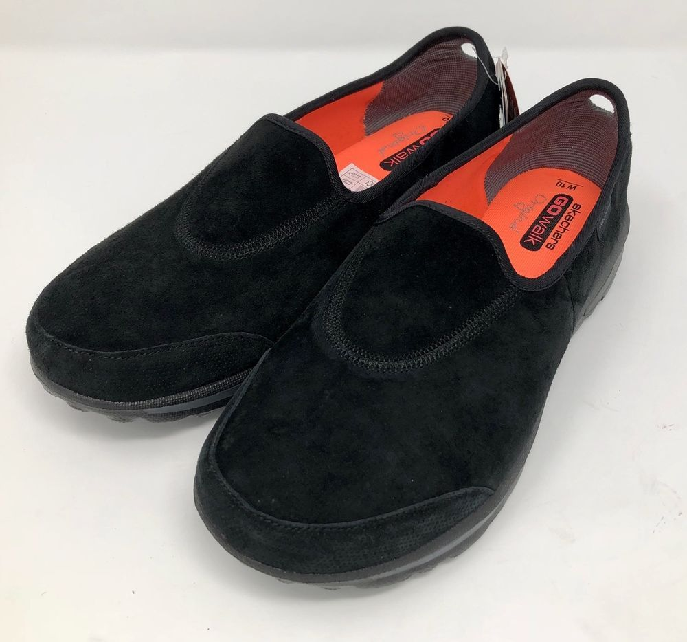 8084cc65a7a Skechers GO WALK Womens 10 Extra Wide 10EW Black Leather Suede Slip On  Sneaker