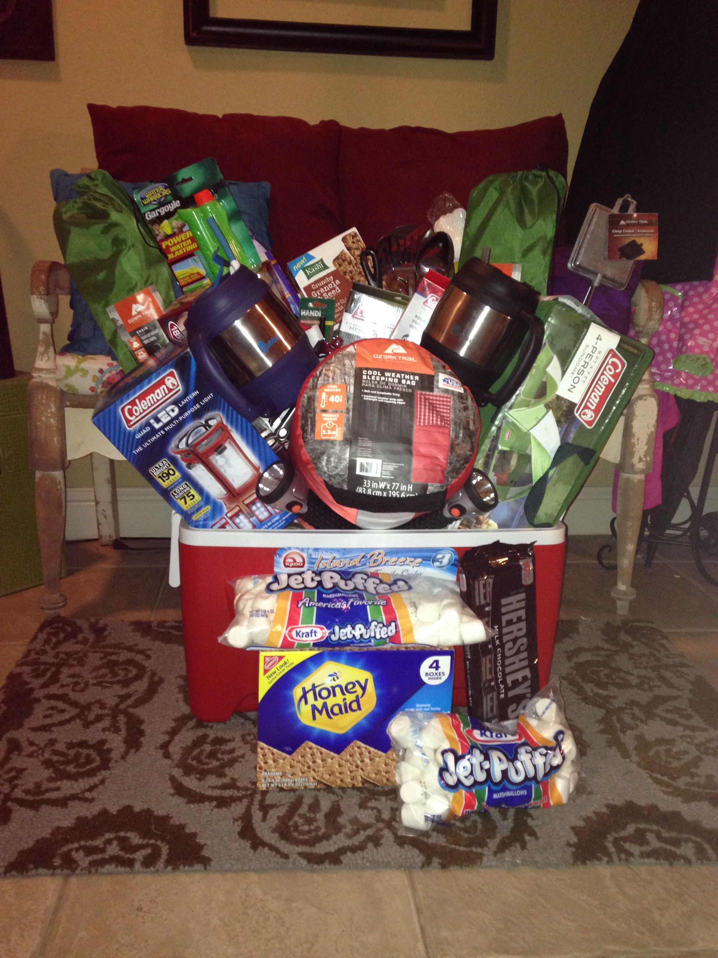 Boys camping party silent auction school and basket ideas camping basket for my daughters school silent auction bam negle Gallery