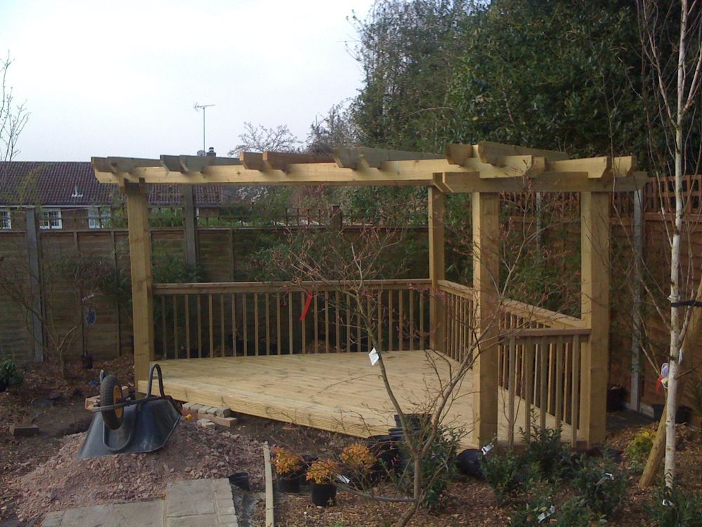 wooden garden corner pergola decking delivered and