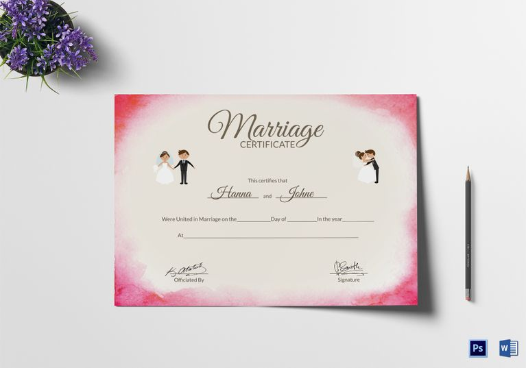 Elegant Marriage Certificate Template  Formats Included  Ms