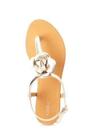 Metallic Flower Sandals | FOREVER 21 - 2000067599