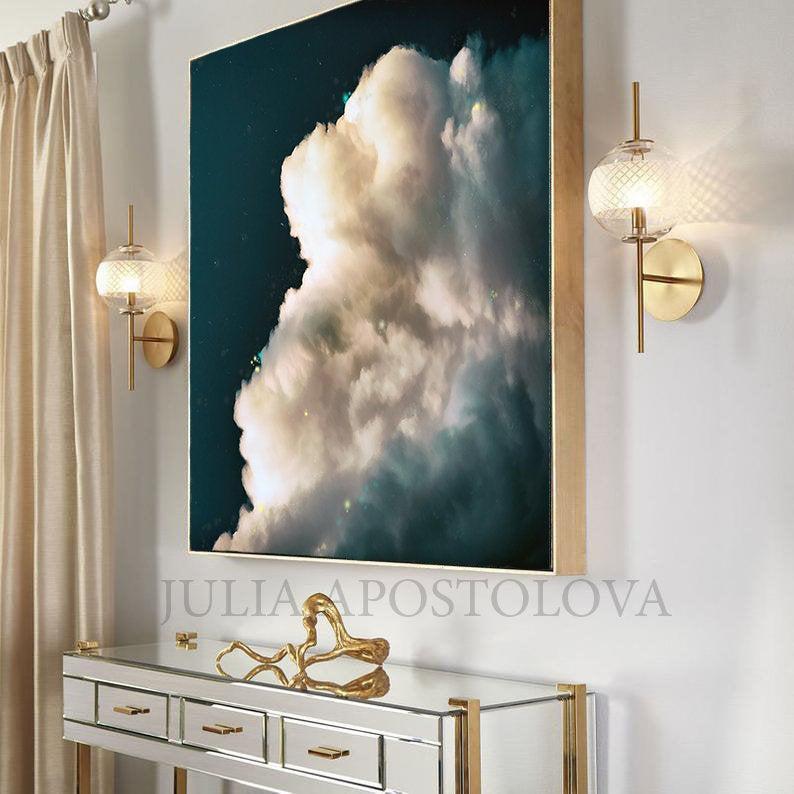 Cloud Canvas Painting Print Dark Teal Wall Art For Modern Etsy In 2020 Cloud Canvas Painting Teal Wall Art Cloud Canvas