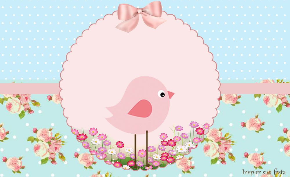 Pajarito Rosa en Fondo Shabby Chic Invitaciones y Cajas para - plantillas para invitaciones gratis
