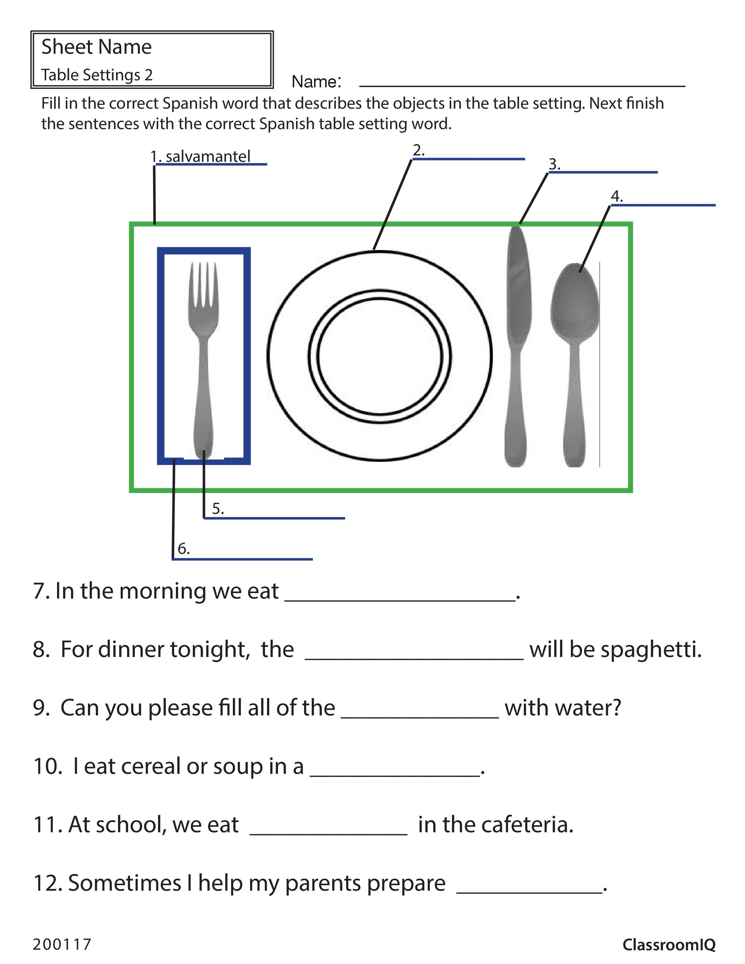 Spanish Table Setting Worksheet Spanishworksheets