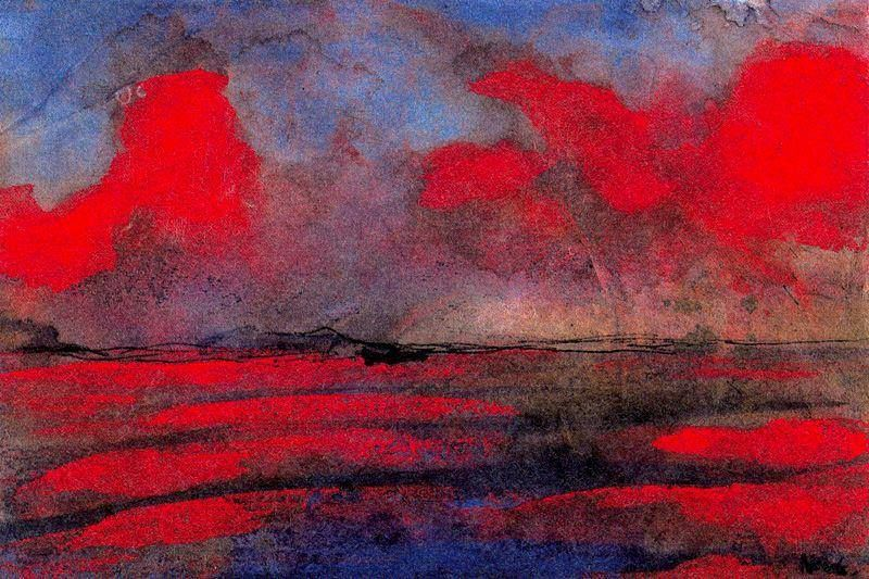 "Emil Nolde (1867-1956) ""Paesaggio con luce rossa"" (sd)"