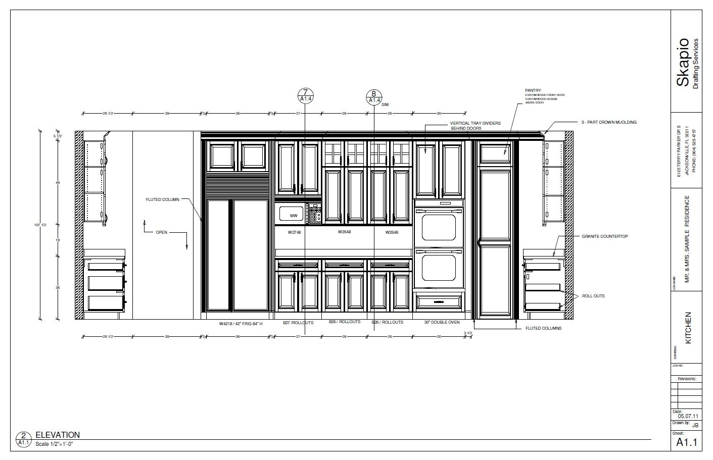 Sample Kitchen Elevation  Shop Drawings    Kitchens