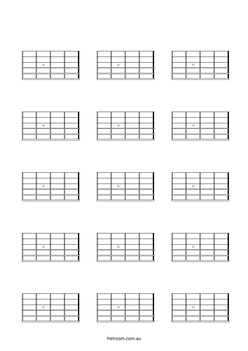 Blank Neck Diagram 15x04 Left Handed - 15 Blocks with 4 ...