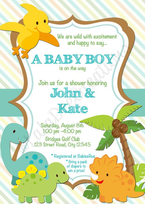 Dinosaur Or Zoo Baby Shower Invitation  X  By Laladeecreations