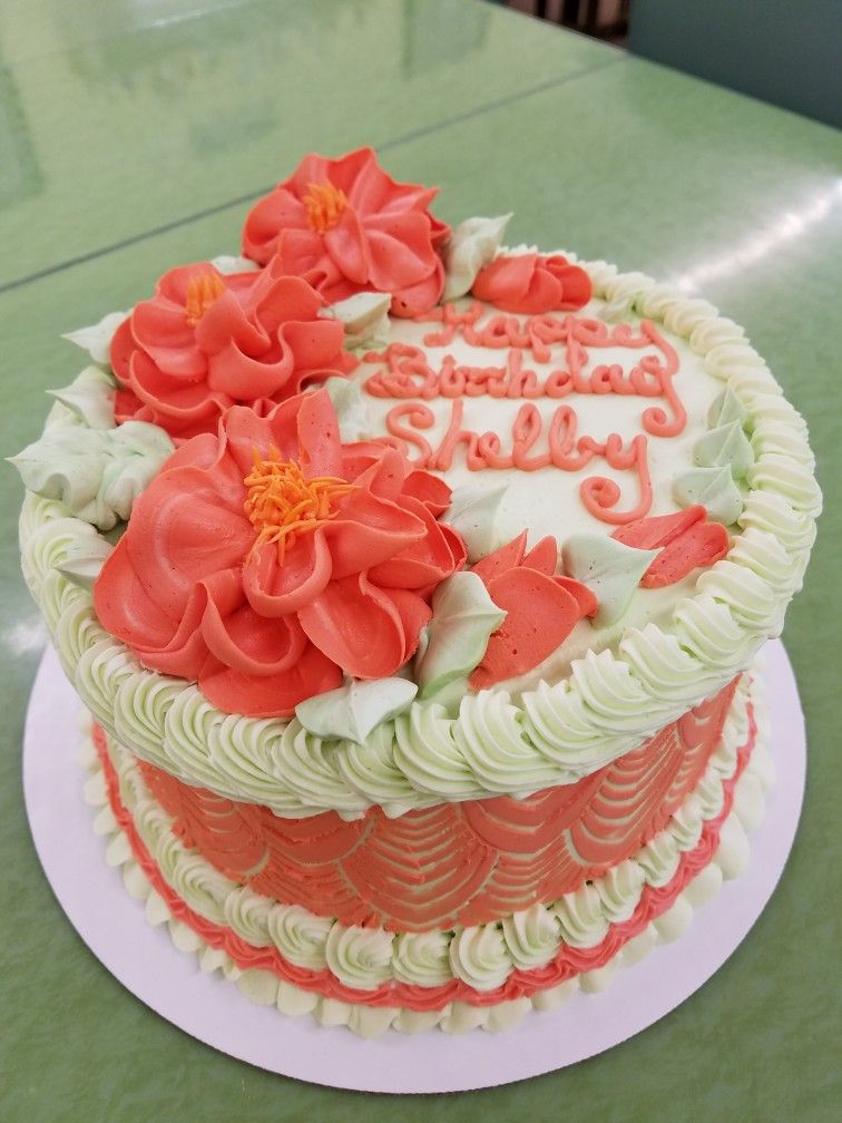 Mint and coral birthday cake bolo