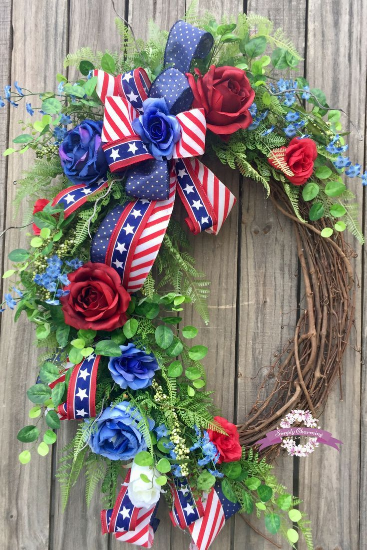 Photo of Items similar to Patriotic Floral Grapevine Wreath, 4th of July Wreath, Americana Wreath, Summer Wreath, USA Wreath, Patriotic Wreath on Etsy