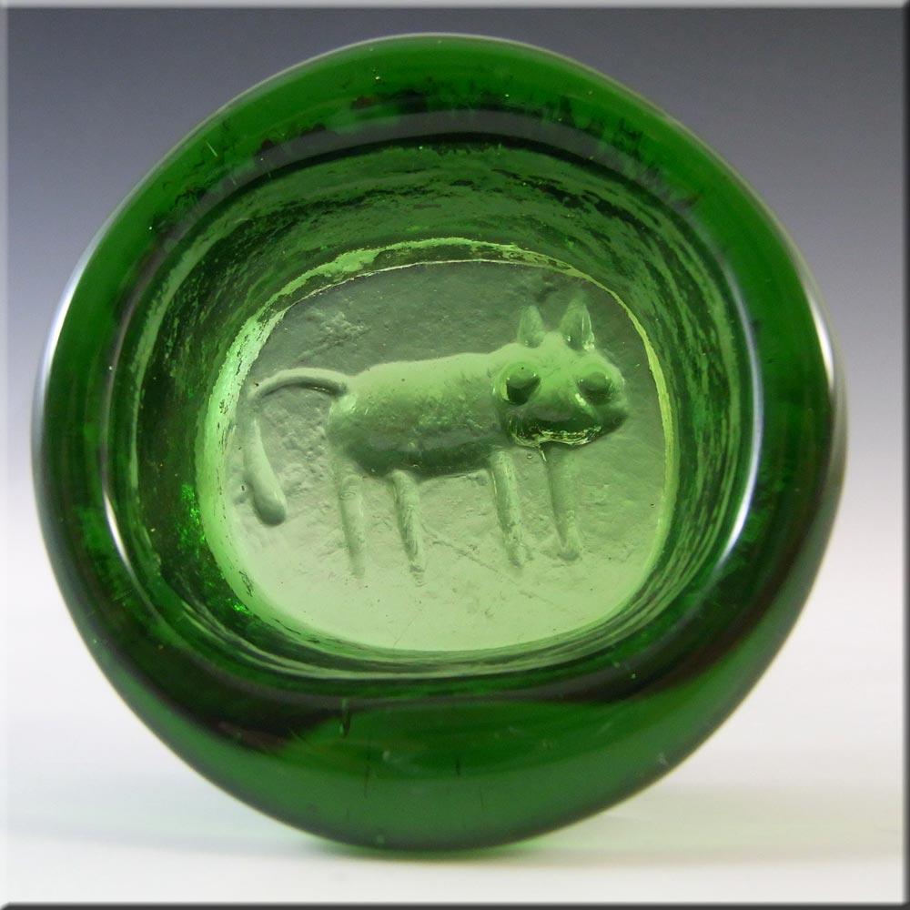 Kosta Boda Swedish Green Glass Cat Bowl by Eric Hoglund