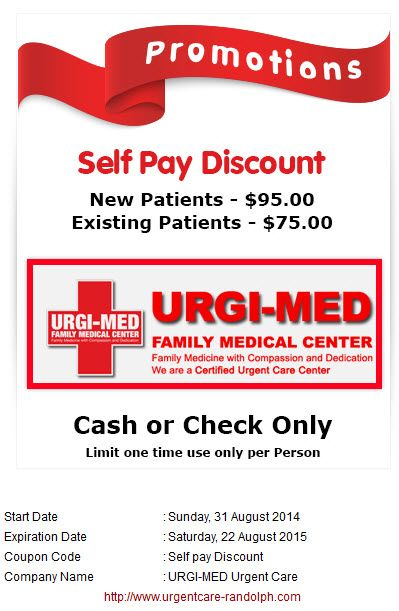 Walk-in clinic cash pay special at Urgi-Med Urgent Care in