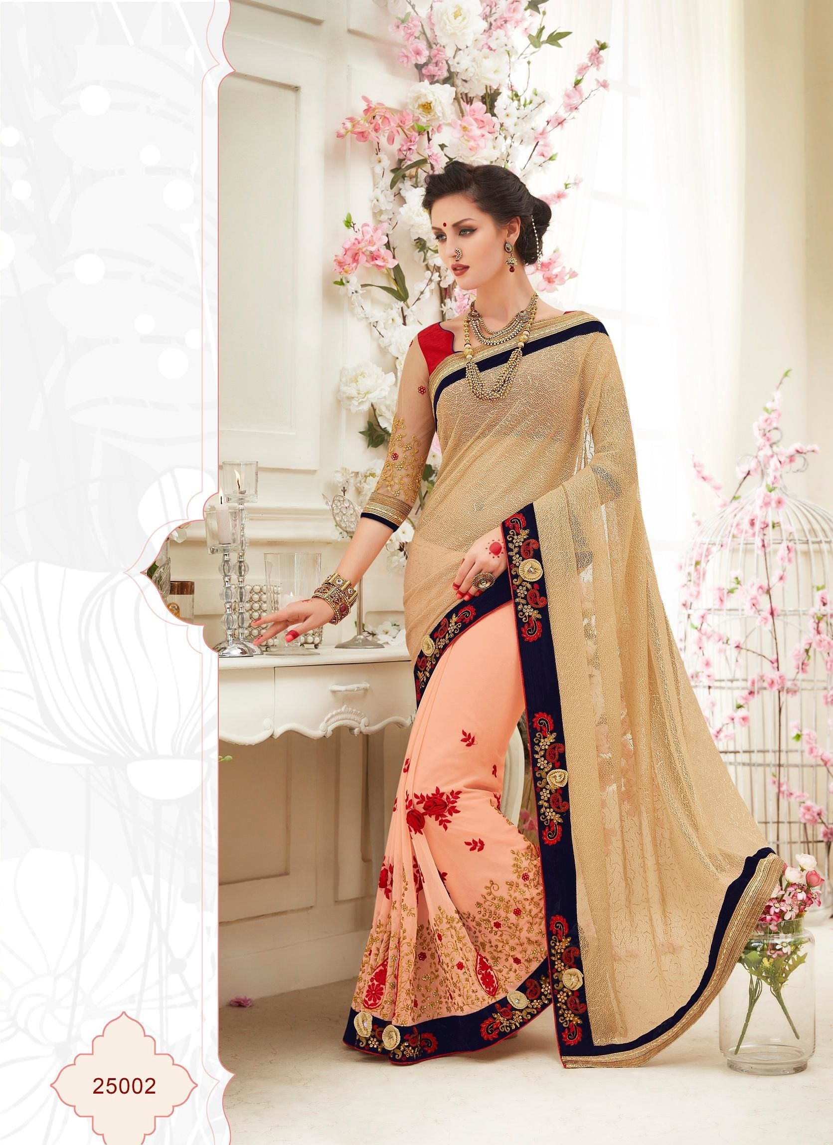 Buy Party wear peach color saree from kollybollyethnics in USA UK and canada