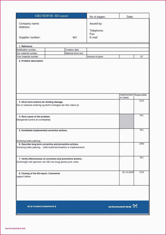 8d Report Template New 8d Report Template Glendale Community In 2020 Report Template Problem Solving Template Professional Templates