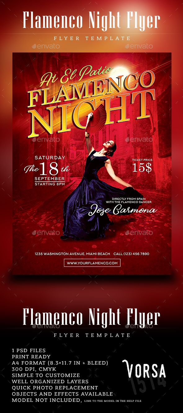 flamenco night flyer template by vorsa1514 features 1 psd files