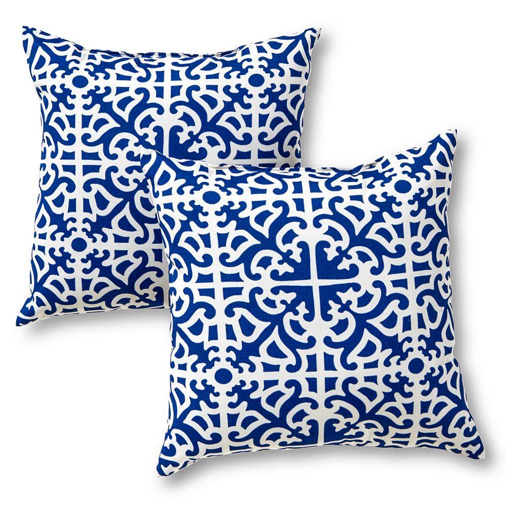 Square Outdoor Decorative Pillows Blue