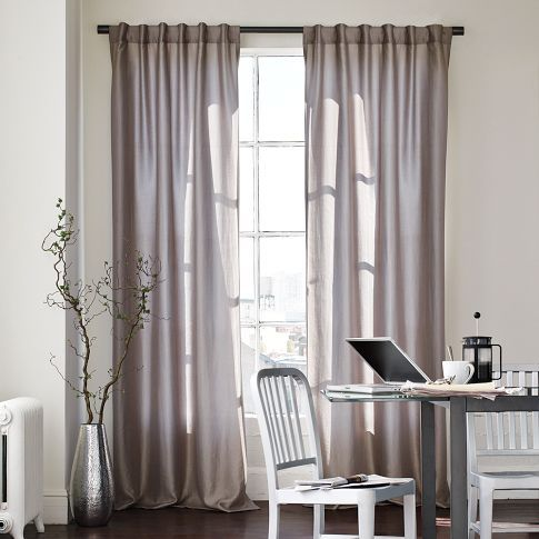 Grey Curtains, West Elm, Luxe Window Panel, 108