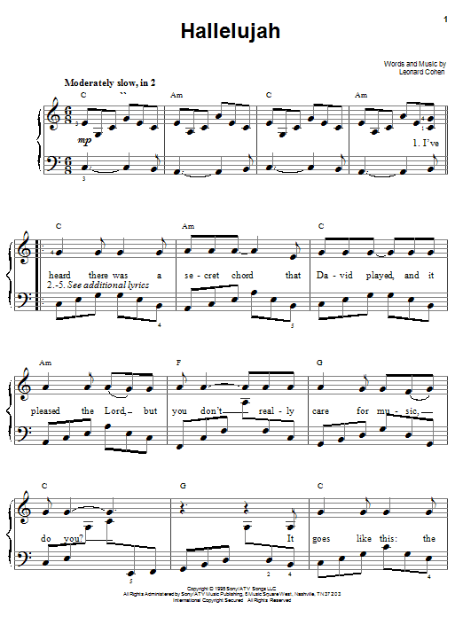 Download Easy Piano Sheet Music To Hallelujah By Kate Voegele And