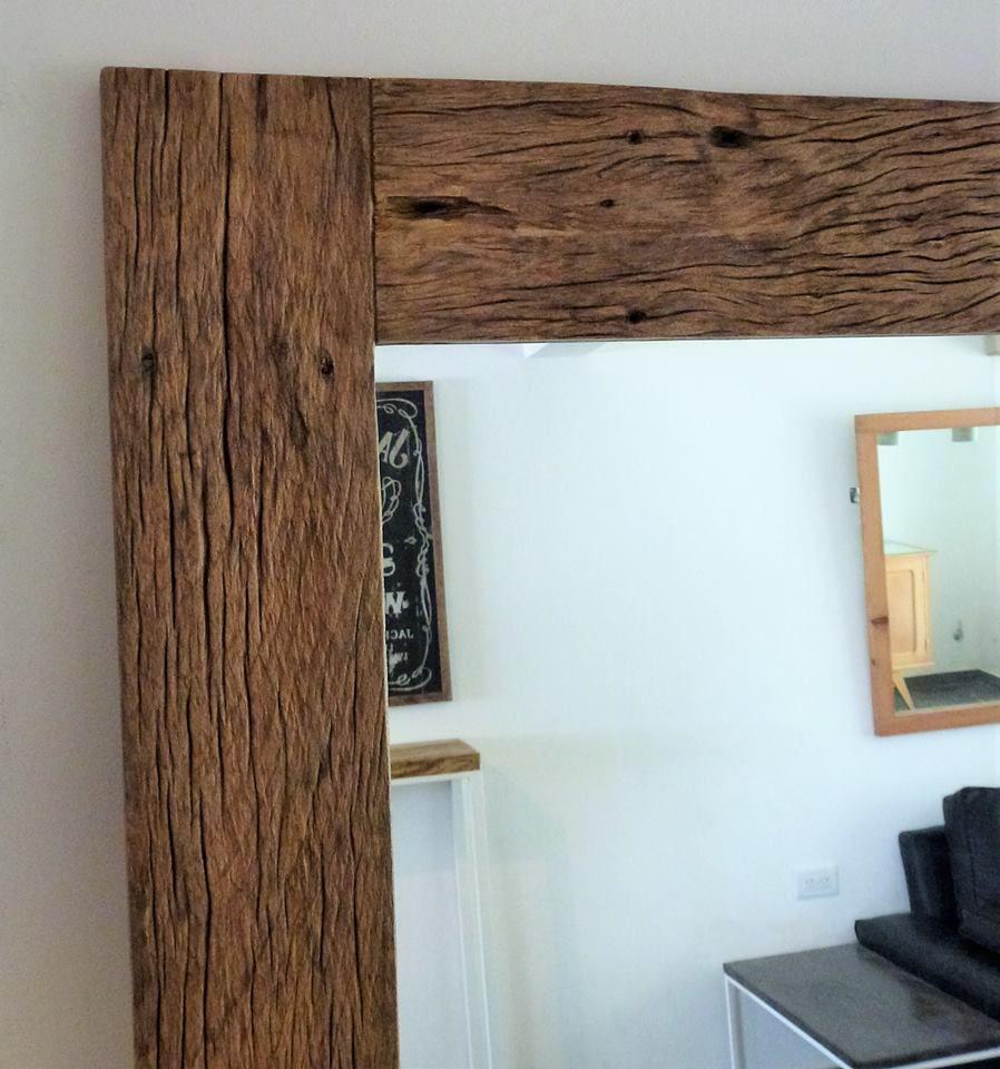 Espejo rustico, madera reciclada recuperada. Espejo de 6 mm y marco ...