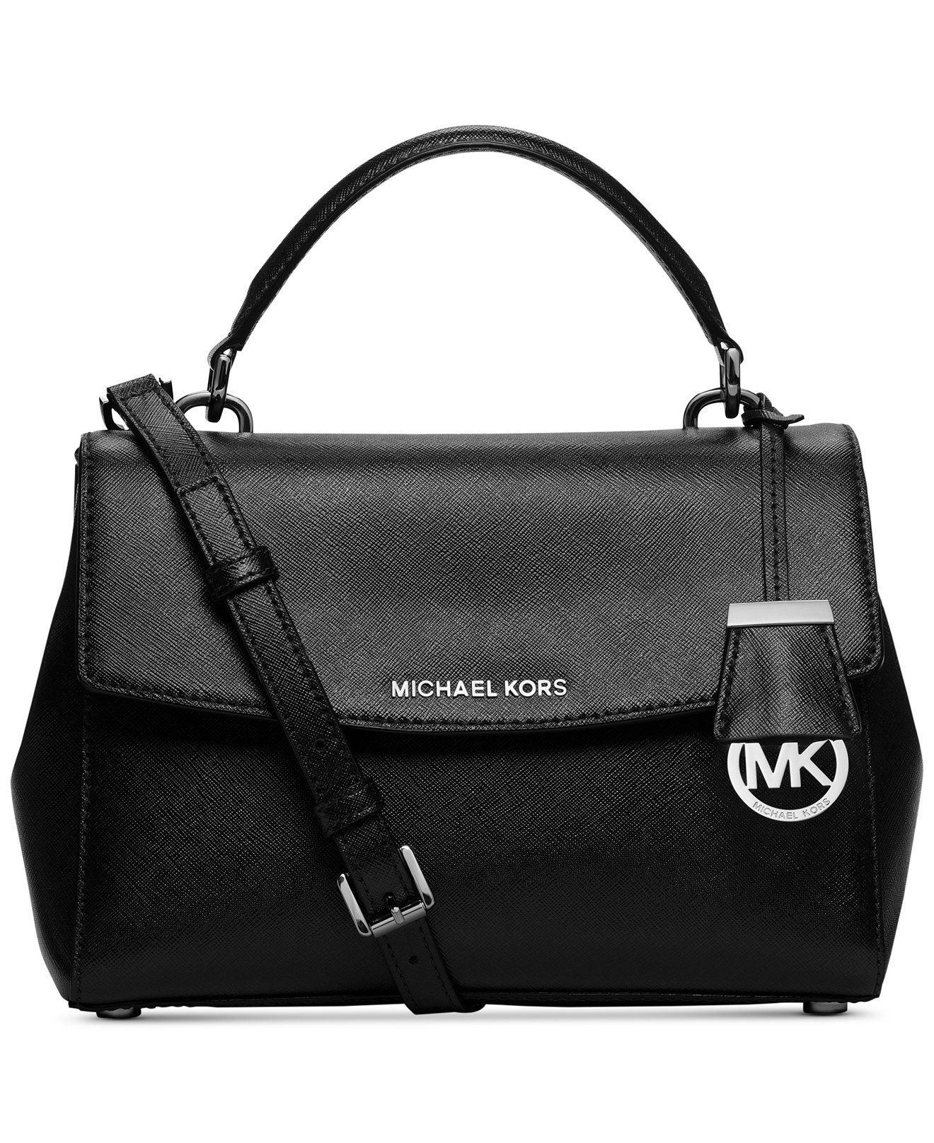 34afd04d95d2 MICHAEL Michael Kors Ava Patent Small Top Handle Satchel Black Saffiano  Leather Shoulder Strap Handbag Designer Fashion Adjustable Flap