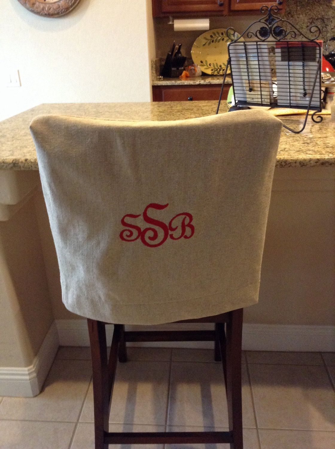 Monogrammed Chair Back Cover Natural Linen Washable Fabric Kitchen