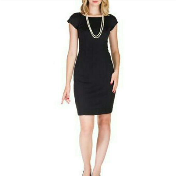 NEW Classic Black Dress Sophisticated and timeless career staple that can also be accessorized with a fun belt, pearls, or statement necklace, depending on the occasion. Cap sleeves minimize the shoulders and create an utmost feminine Dresses