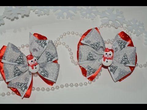 Новогодний бантик Канзаши/Christmas bow Kanzashi
