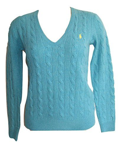Ralph Lauren Ladies Kimberly Cable Knit V Neck Wool Sweater, Light ...