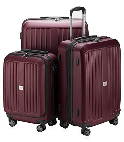 $250__ HAUPTSTADTKOFFER X-Berg - Set of 3 Hard-side Luggages matt Suitcase Hardside Spinner Trolley Expandable (20 inch, 24 inch & 28 inch) TSA Burgundy. Three-piece hard-side suitcase set. 1 cabin luggage 42 liter (55 x 37 x 24 cm) + 1 suitcase 90 liter (65 x 46 x 28 cm +6 cm) + 1 suitcase 126 liter (75 x 52 x 31 cm +6 cm) Four multidirectional smooth and silent 360° double wheels. TSA Lock (No key), important for travel to the USA. Material: ABS, super light and very resistant