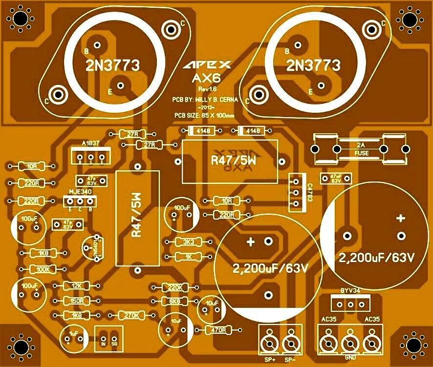 Pcb Power Amplifier Apex Ax6 Com Imagens Amplificador